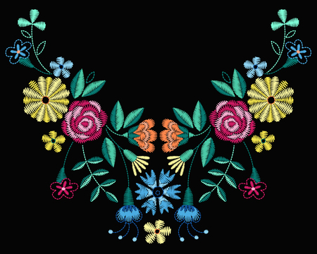 A Vector design for collar t-shirts and blouses. Colorful ethnic flowers neck line. Embroidery for Fashion Vector illustration. Illustration
