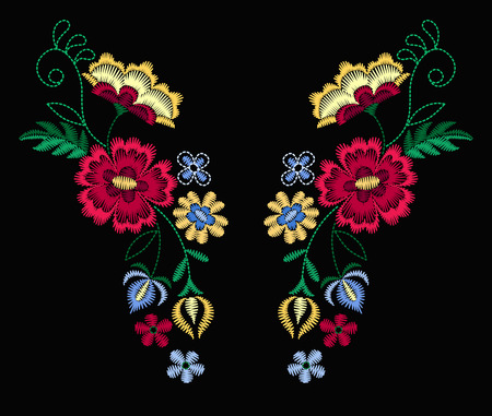 A Vector design for collar t-shirts and blouses. Colorful ethnic flowers neck line. Embroidery for Fashion Vector illustration. Çizim
