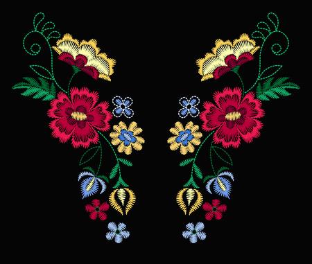 Un disegno vettoriale per magliette e camicette. Linea collo fiori etnici colorati. Ricamo per illustrazione vettoriale di moda. Archivio Fotografico - 97045443