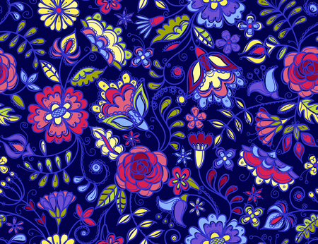 Fabulous colorful flowers on dark blue background Seamless pattern with abstract wildflowers and berries.
