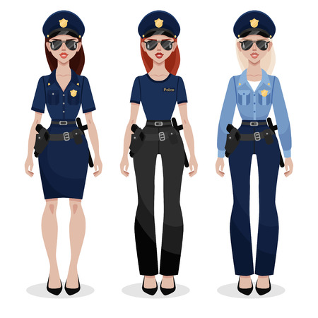 Set of three police women in different uniform. Beautiful young police officer in uniform. Women's profession Vector man character isolated on white background.
