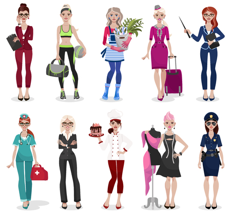 Set of different professions: doctor, teacher, fashion designer. Vector illustration isolated on white background.