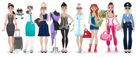 Set of different professions Vector illustration isolated on white background.
