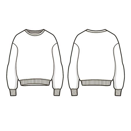 Trendy women sweatshirt Vector sweatshirt template. Front and back view