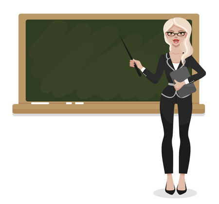 Young female teacher on lesson at blackboard in classroom at school, college or university. Women's profession. Vector man character isolated on white background. Vettoriali