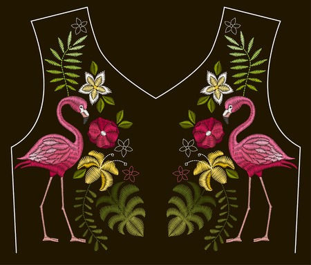 Embroidery stitches with flamingo birds and tropic flowers for neckline Vector design for collar t-shirts and blouses. Foto de archivo - 97045731