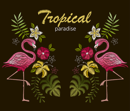 Embroidery stitches with flamingo birds and tropic flowers for neckline Vector design for collar t-shirts and blouses.