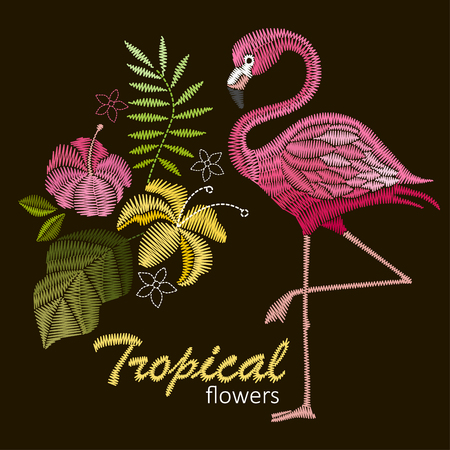 Embroidery stitches with flamingo birds and tropic flowers for neckline Vector design for collar t-shirts and blouses. Foto de archivo - 97045733