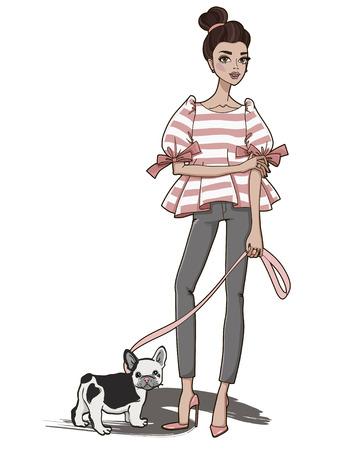 Fashion girl with cute french bulldog. Vector illustration. Illustration