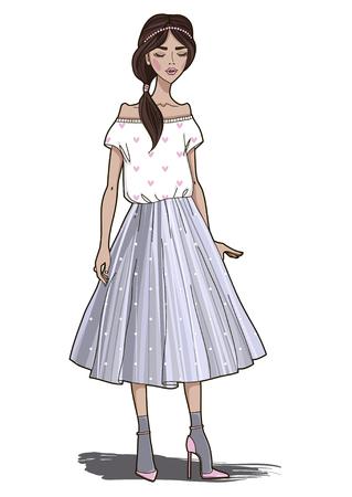 Fashion girl in gray tulle skirt. Vector illustration. Illusztráció