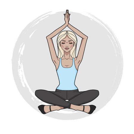 Fashion girl practicing Yoga. Lotus meditative pose. Young beautiful woman sitting in yoga position. Template for design cards, yoga studio, poster and natural cosmetics. Vector illustration.