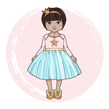 Sweet little girl. Cartoon character. Cute little princess with glitter crown headband. Vector illustration.