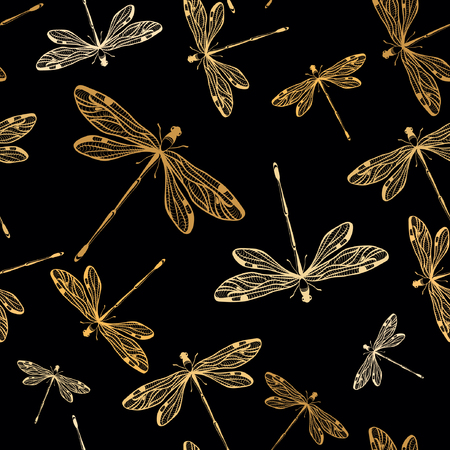 Seamless pattern with dragonflies on black background. Vector illustration. 일러스트