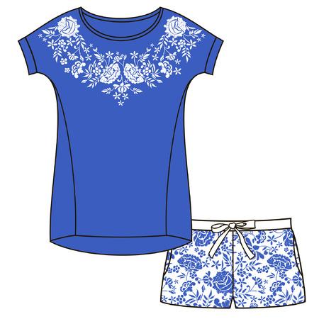 Vector pajama set. Embroidery for Fashion