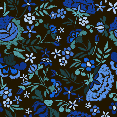 Embroidery seamless pattern with beautiful flowers.