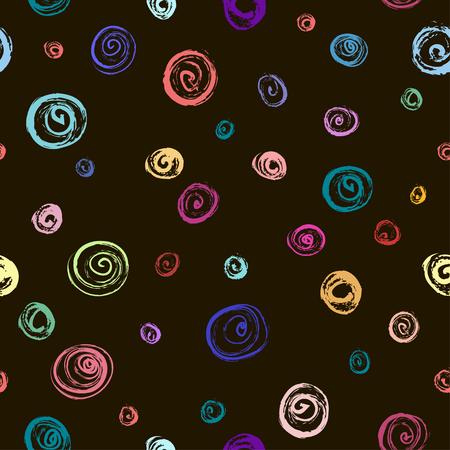 Hand drawn colorful polka dot seamless pattern. Casual polka dot texture. Stylish doodle. Vector.  イラスト・ベクター素材