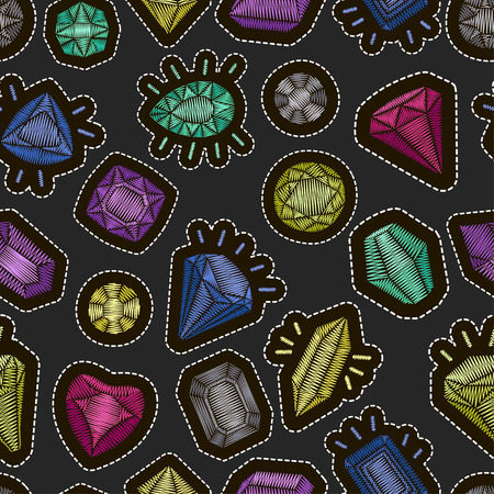 Cute fashion seamless pattern with patch badges: gems and diamonds in different colors. Vector patch badges embroidery set.