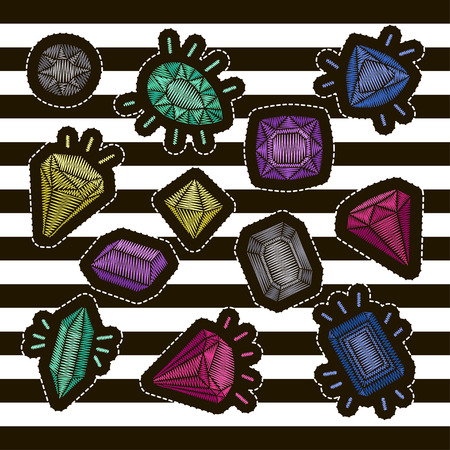 Fashion patch badges embroidery set: gems and diamonds in different colors. Vector trendy illustration. Illusztráció