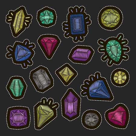 Fashion patch badges embroidery set: gems and diamonds in different colors. Vector trendy illustration. Vettoriali
