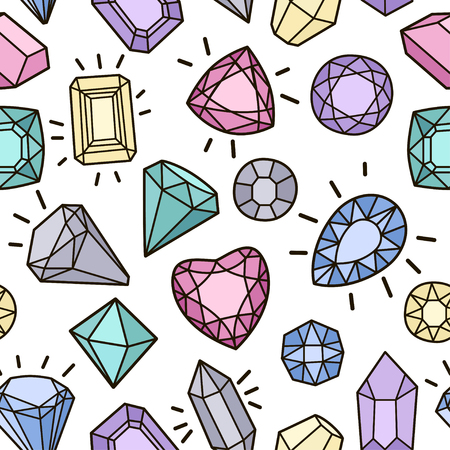 Cute fashion seamless pattern with gems and diamonds. Vector trendy illustration.