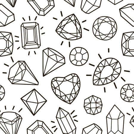 Modello senza cuciture moda carino con gemme e diamanti. Illustrazione alla moda di vettore Archivio Fotografico - 97228768