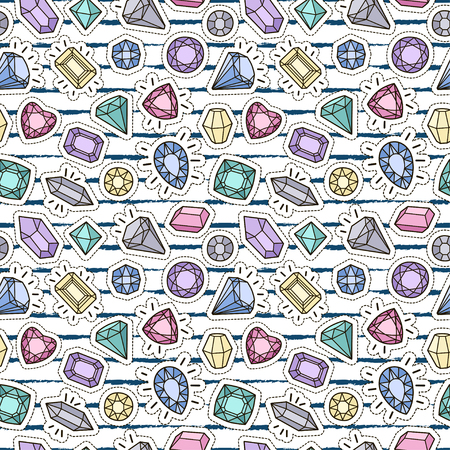 Cute fashion seamless pattern with patch badges: gems and diamonds in different colors. Vector trendy illustration. Vectores