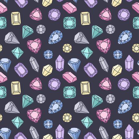 Modello senza cuciture moda carino con gemme e diamanti. Illustrazione alla moda di vettore Archivio Fotografico - 97228771