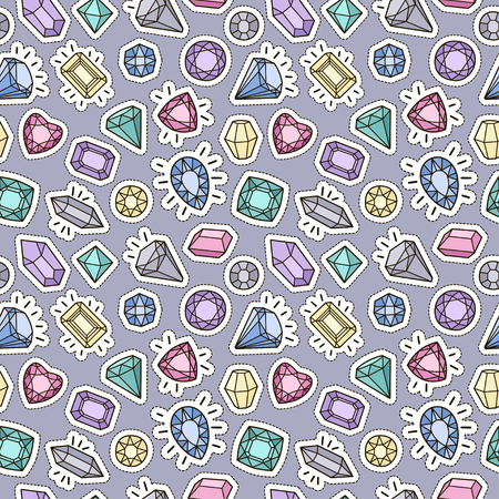 Cute fashion seamless pattern with patch badges: gems and diamonds in different colors. Vector trendy illustration.  イラスト・ベクター素材