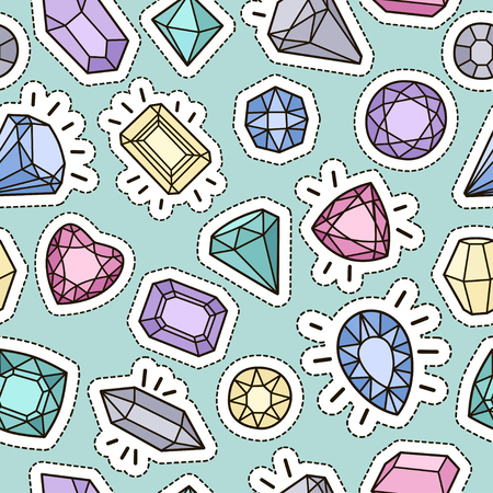 Cute fashion seamless pattern with patch badges: gems and diamonds in different colors. Vector trendy illustration. Vettoriali