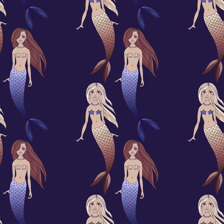 Cute mermaids girls seamless pattern on dark blue background. Vector sea background. Cartoon underwater vector illustration. Design for fabric, textile, decor.