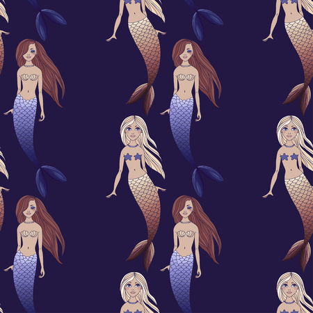 Cute mermaids girls seamless pattern on dark blue background. Vector sea background. Cartoon underwater vector illustration. Design for fabric, textile, decor.