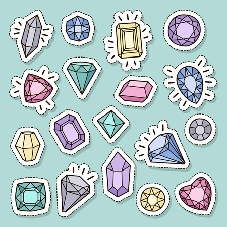 Cute fashion patch badges set: gems and diamonds in different colors. Vector trendy illustration.