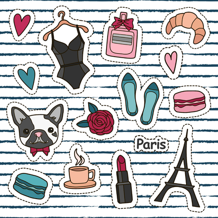 Cute fashion patch badges set: hearts, Eiffel tower, flower, macaroons, lingerie, lipstick, bulldog, perfume, shoes, croissant, cup of coffee. Paris romantic design. Vector trendy illustration.