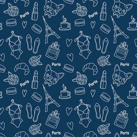 Cute fashion seamless pattern with hearts, Eiffel tower, flower, macaroons, lingerie, lipstick, bulldog, perfume, shoes, croissant, cup of coffee. Vector trendy illustration.
