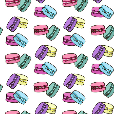 Cute seamless pattern with macaroons. French sweets. Colorful macaroon. Vector background. Vettoriali