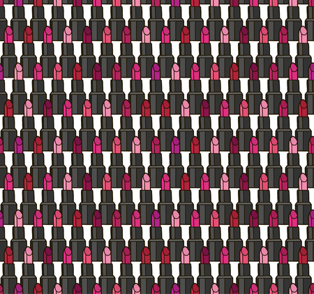 Lipstick seamless pattern background. Vector illustration.