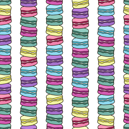 Cute seamless pattern with macaroons. French sweets. Colorful macaroon. Vector background illustration.