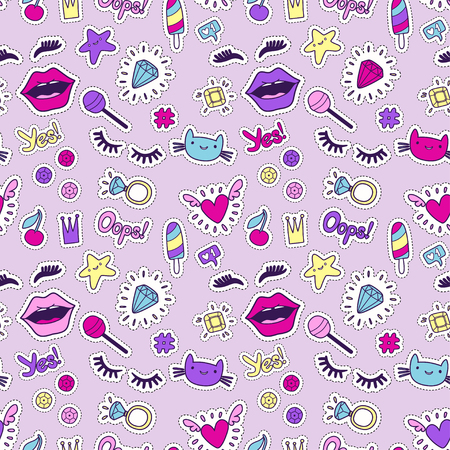 Cute fashion seamless pattern with patch badges: lips, heart, eyes, ring, star, cat, lashes, ice cream, sequins. Vector trendy illustration.