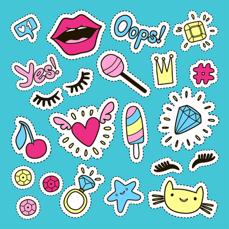 Fashion cute set: patches, badges, pins and stickers. Vector trendy illustration.