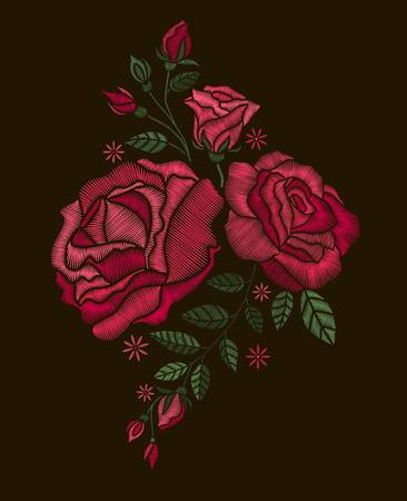 Vector design for collar t-shirts and blouses. Colorful ethnic flowers neck line. Embroidery for Fashion. Red roses embroidery on black background. Foto de archivo - 97131919
