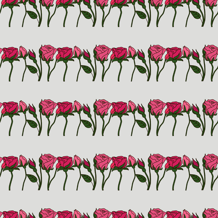 Seamless pattern with beautiful roses. Romantic background. Vector illustration.  イラスト・ベクター素材