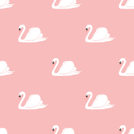 Seamless pattern with beautiful swans. Vector illustration. Vettoriali