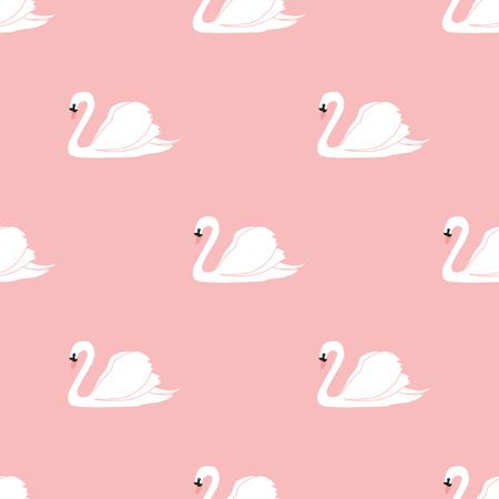 Seamless pattern with beautiful swans. Vector illustration. Illustration