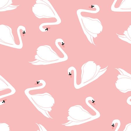 Seamless pattern with beautiful swans. Vector illustration. Illustration