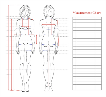 Woman body measurement chart. Scheme for measurement human body for sewing clothes. Female figure: front and back views. Template for dieting, fitness. Vector.