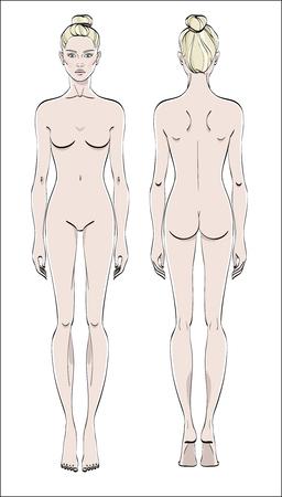 Kobieca figura: przód i tył. Wektor koloru. Ciało ludzkie w stylu liniowym. Ilustracje wektorowe