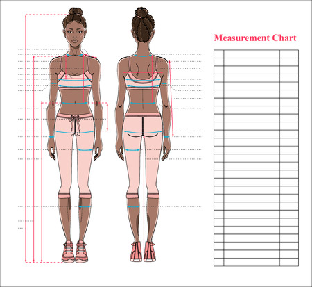 Woman body measurement chart. Scheme for measurement human body for sewing clothes. Female figure: front and back views. Young african woman in sports wear. Template for dieting, fitness. Vector. Vettoriali