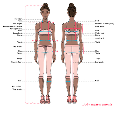 Woman body measurement chart. Scheme for measurement human body for sewing clothes. Female figure: front and back views. Young african american woman in sports wear. Vector.