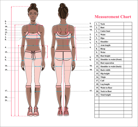 Woman body measurement chart. Scheme for measurement human body for sewing clothes. Female figure: front and back views. Young african woman in sports wear. Template for dieting, fitness. Vector. Vectores