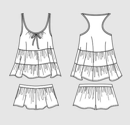 Silk pajama set. Romantic top and shorts. Isolated vector. Front and back views.